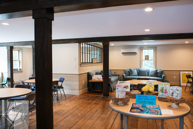 The Merry Barn underwent recent renovationand upgrades for use as a literacy center and space for creativity in the community.  Renovation designs by Phelps Architects.