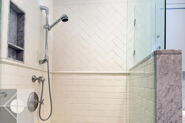 Walk in shower of Greek Revival home by Phelps Architects.