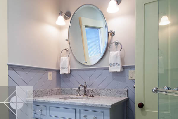 Custom vanity in Greek Revival home by Phelps Architects.