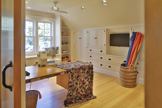 Interior design sewing room in Cushing, Maine home by Phelps Architects.
