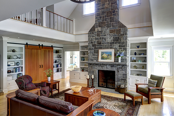Living room of Cushing, Maine home by Phelps Architects.