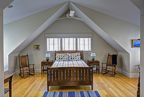Interior design bedroom in Cushing, Maine home by Phelps Architects.