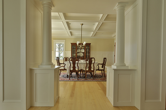 Interior design looking into the dining room of Cushing, Maine home by Phelps Architects.