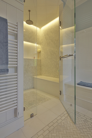 Interior design bathroom shower in Cushing, Maine home by Phelps Architects.