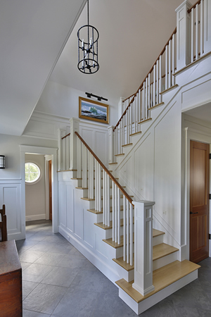Interior design stairway in Cushing, Maine home by Phelps Architects.
