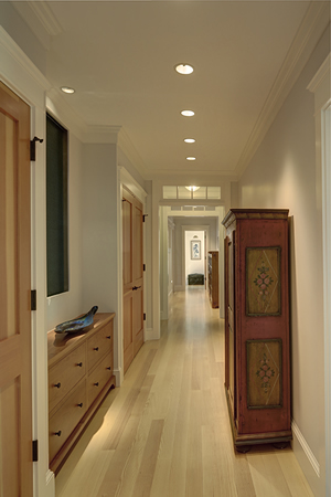 Interior design hallway in Cushing, Maine home by Phelps Architects.