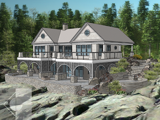 Portfolio image of a residential architectural design in South Bristol, Maine by Phelps Architects