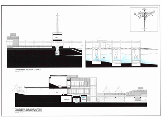Computer graphics of a marine lab by Phelps Architects.