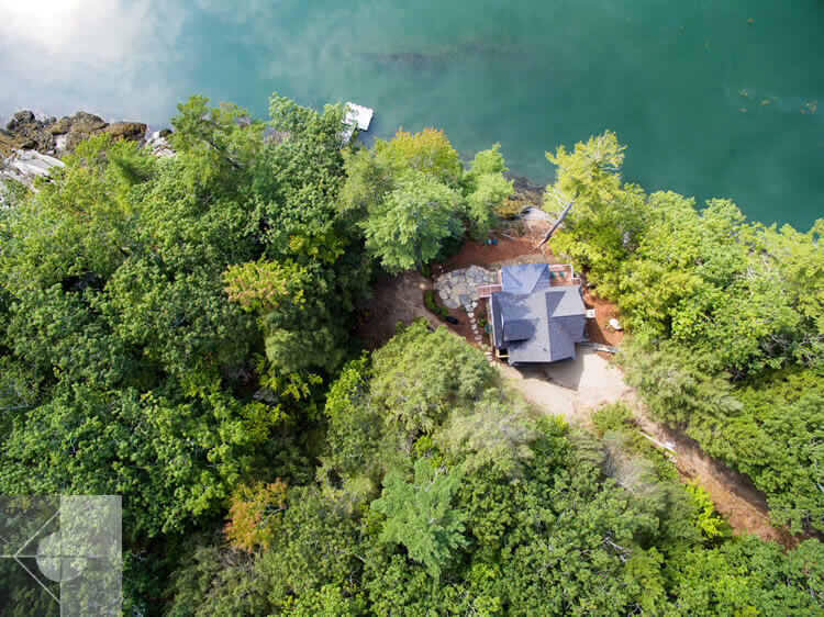 Arial view of cottage in Edgecomb, Maine by Phelps Architects