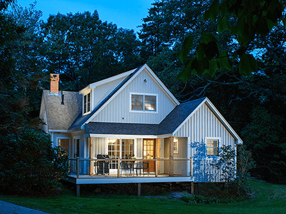 Portfolio image of a residential architectural design in Bristol, Maine by Phelps Architects.